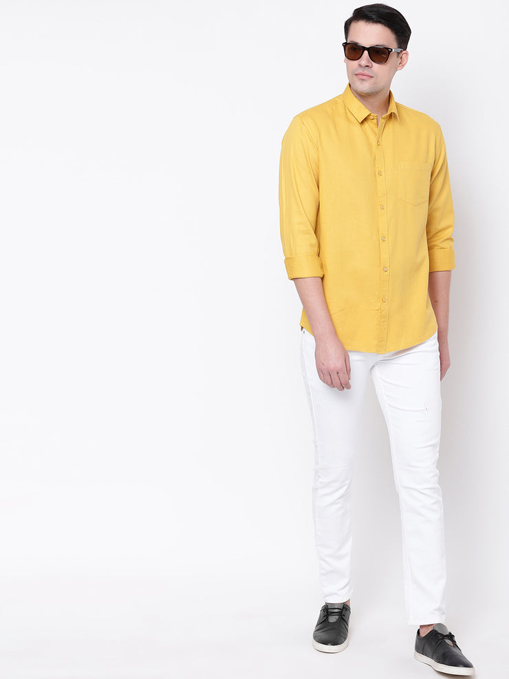 Yellow Casual Solid Full Sleeves Cotton Shirt