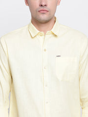 Cotton Yellow Casual Button-down Front Shirt