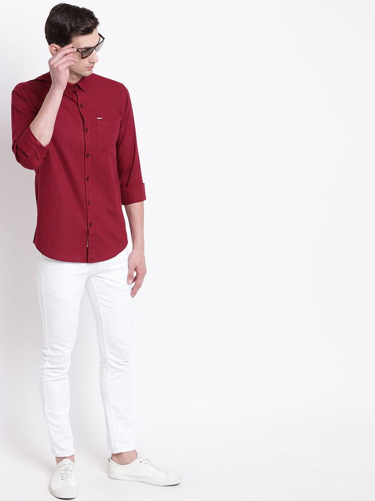 Cotton Maroon Casual Button-down Front Shirt
