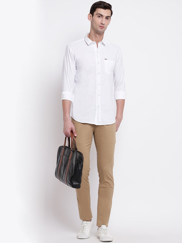 Cotton White Casual Button-down Front Shirt
