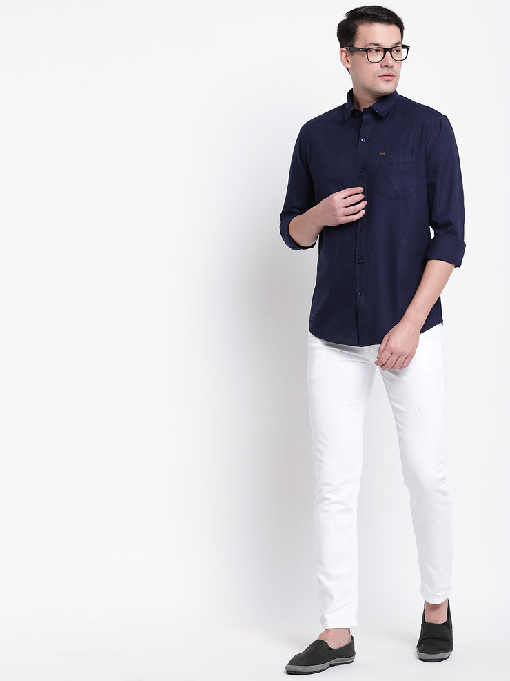 Cotton Blue Casual Button-down Front Shirt