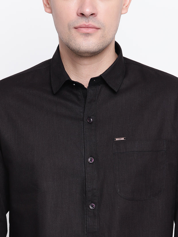 Cotton Black Casual Button-down Front Shirt