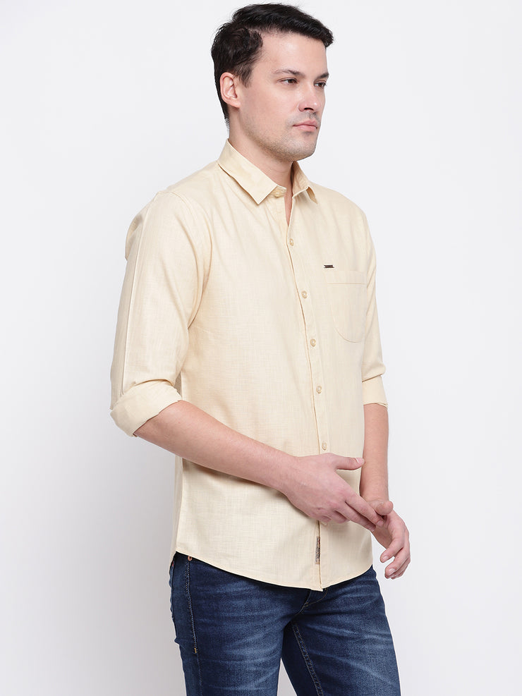 Cotton Beige Casual Button-down Front Shirt