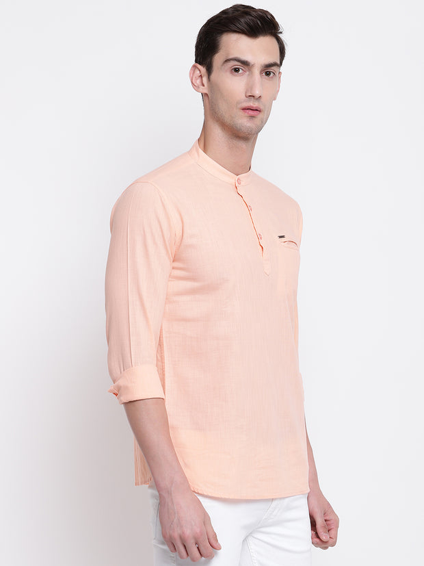 Pink Cotton Mandarin Collar Shirt