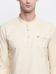 Beige Cotton Mandarin Collar Shirt