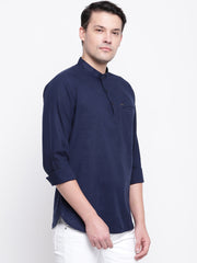 Blue Cotton Mandarin Collar Shirt