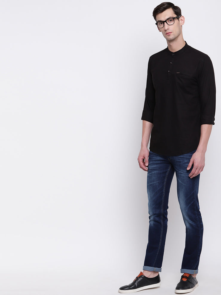 Black Cotton Mandarin Collar Shirt