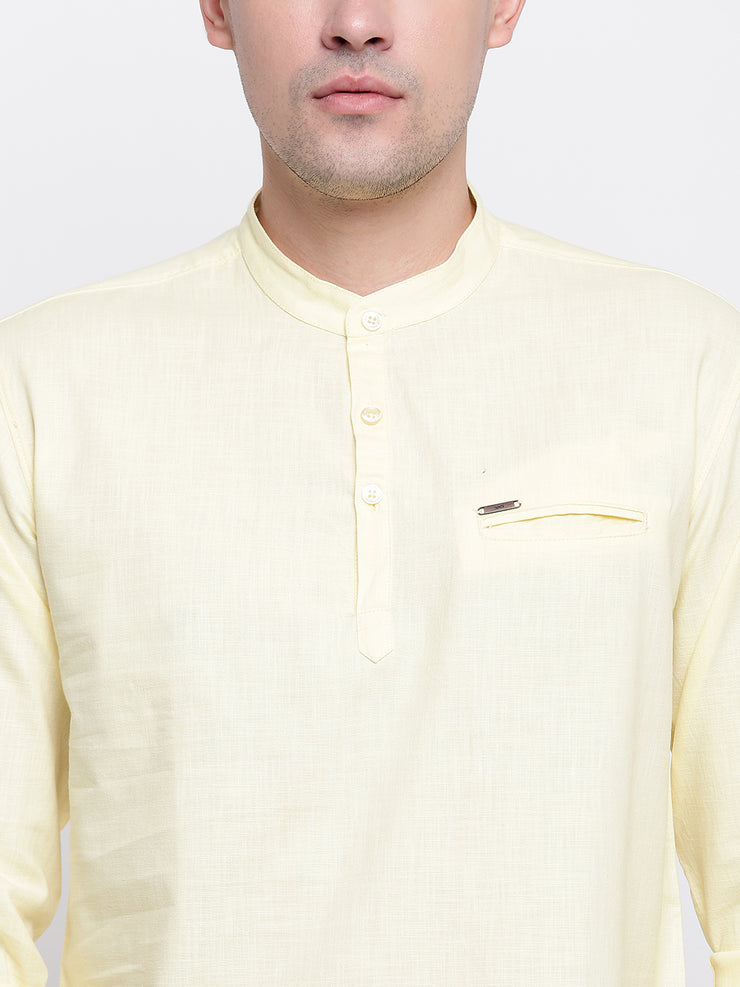 Yellow Cotton Mandarin Collar Shirt