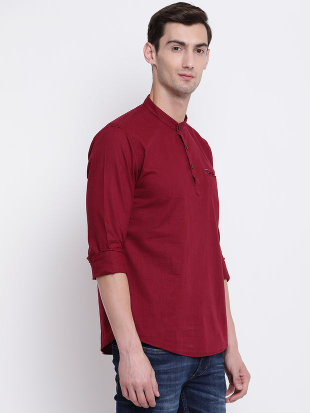 Maroon Cotton Mandarin Collar Shirt