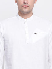White Cotton Mandarin Collar Shirt