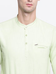 Green Cotton Mandarin Collar Shirt