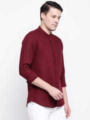 Maroon Mandarin Collar Casual Cotton Linen Shirt