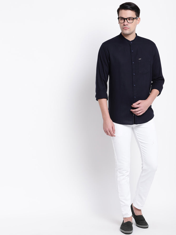 Blue Mandarin Collar Casual Cotton Linen Shirt
