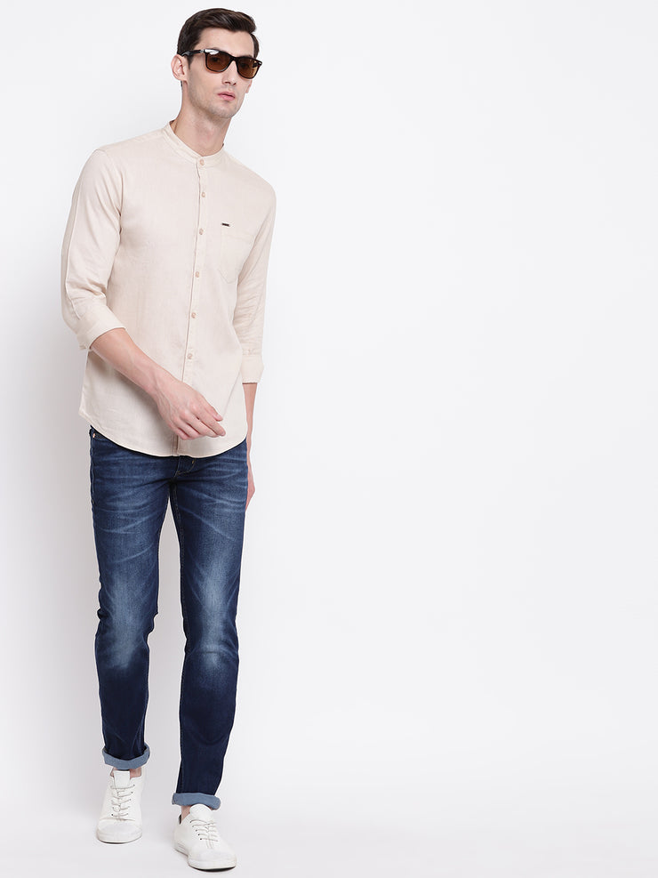 Beige Mandarin Collar Casual Cotton Linen Shirt