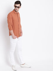Orange Cotton Casual Spread Collar Shirt