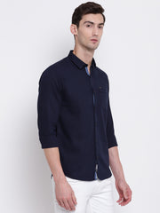 Blue Cotton Casual Spread Collar Shirt