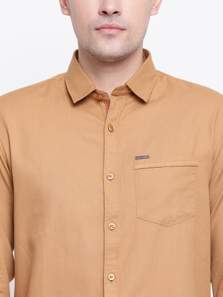 Beige Cotton Casual Spread Collar Shirt