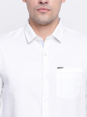 White Cotton Casual Spread Collar Shirt