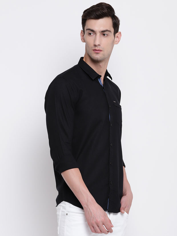 Black Cotton Casual Spread Collar Shirt