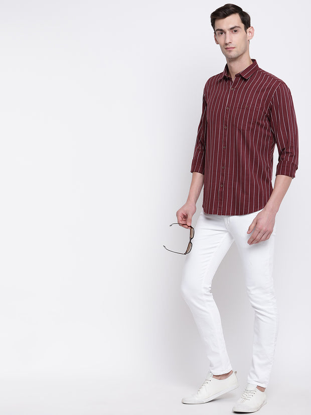 Red Striped Cotton Full Sleeves Shirt