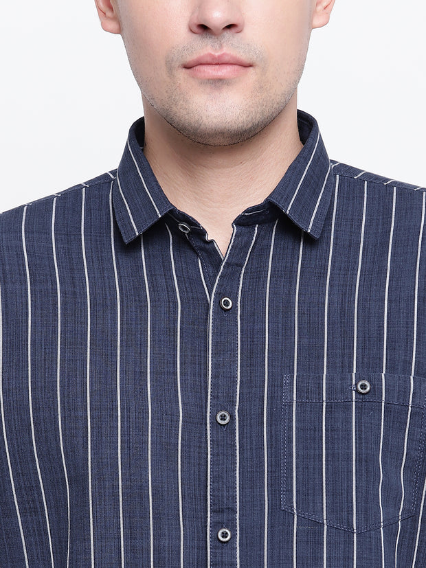Blue Striped Cotton Full Sleeves Shirt
