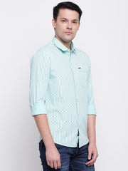 Green Cotton Polka Print Casual Shirt