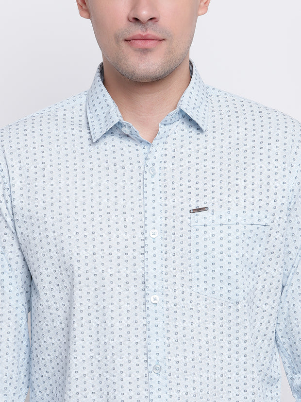 Blue Cotton Polka Print Casual Shirt