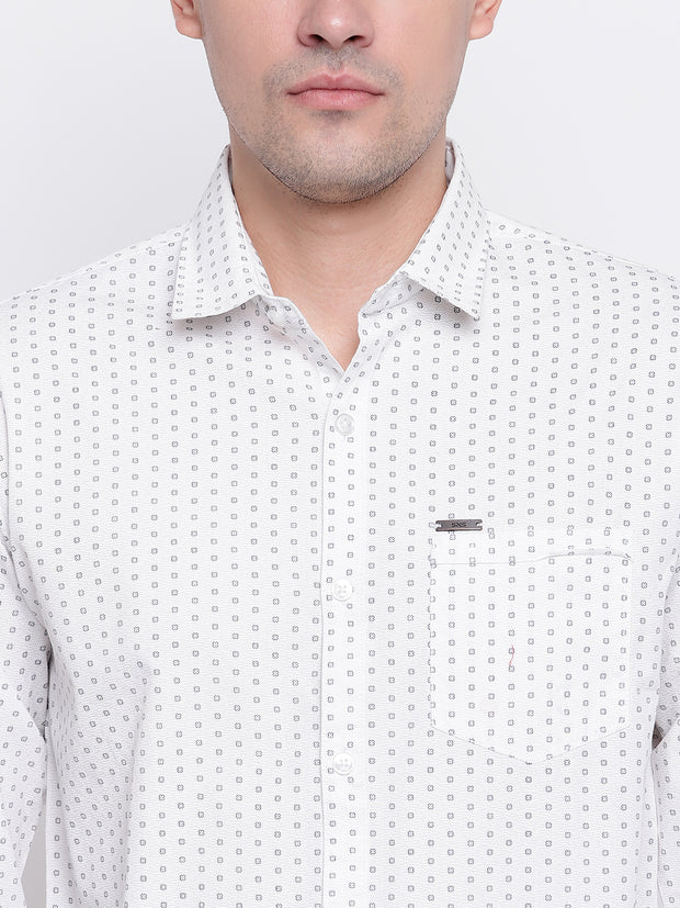 White Cotton Polka Print Casual Shirt