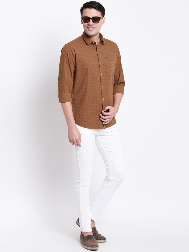Beige Cotton Spread Collar  Shirt