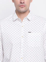 White Cotton Spread Collar  Shirt