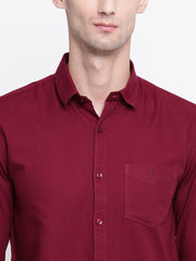 Cotton Maroon Full Sleeves Spread Collar Casual Shirt
