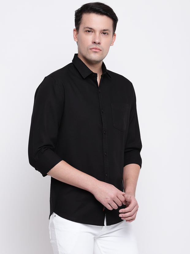 Cotton Black Full Sleeves Spread Collar Casual Shirt