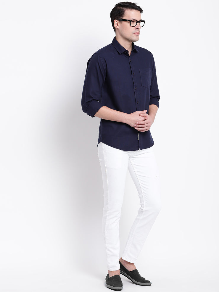 Cotton Blue Full Sleeves Spread Collar Casual Shirt