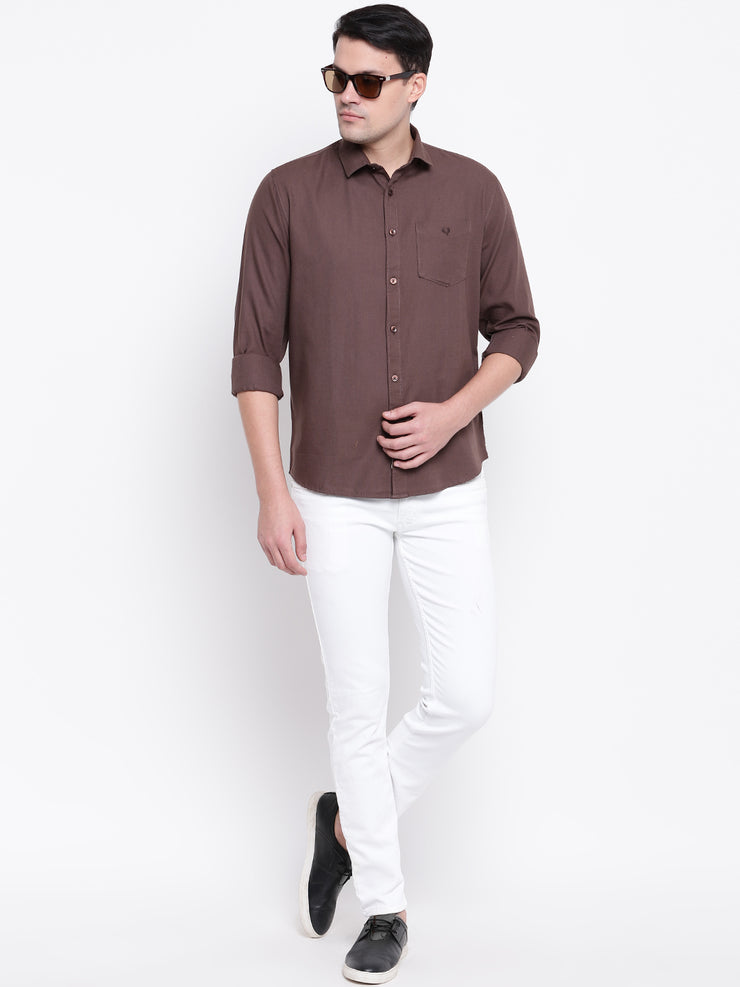 Cotton Coffee Full Sleeves Spread Collar Casual Shirt
