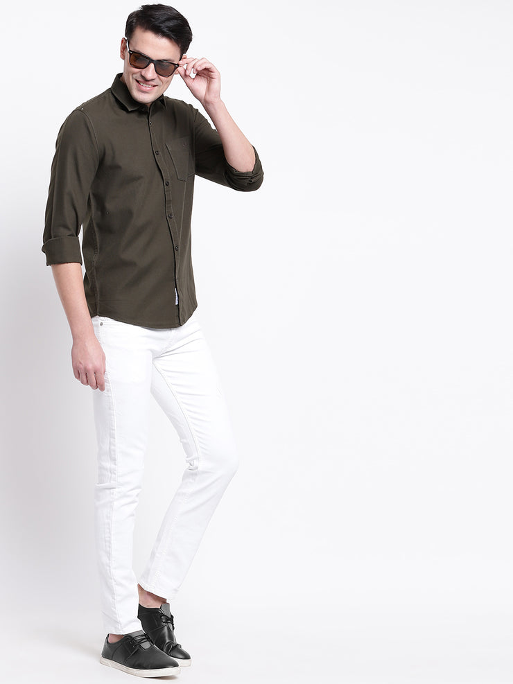 Cotton Geen Full Sleeves Spread Collar Casual Shirt