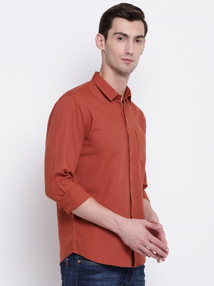 Cotton Orange Full Sleeves Spread Collar Casual Shirt