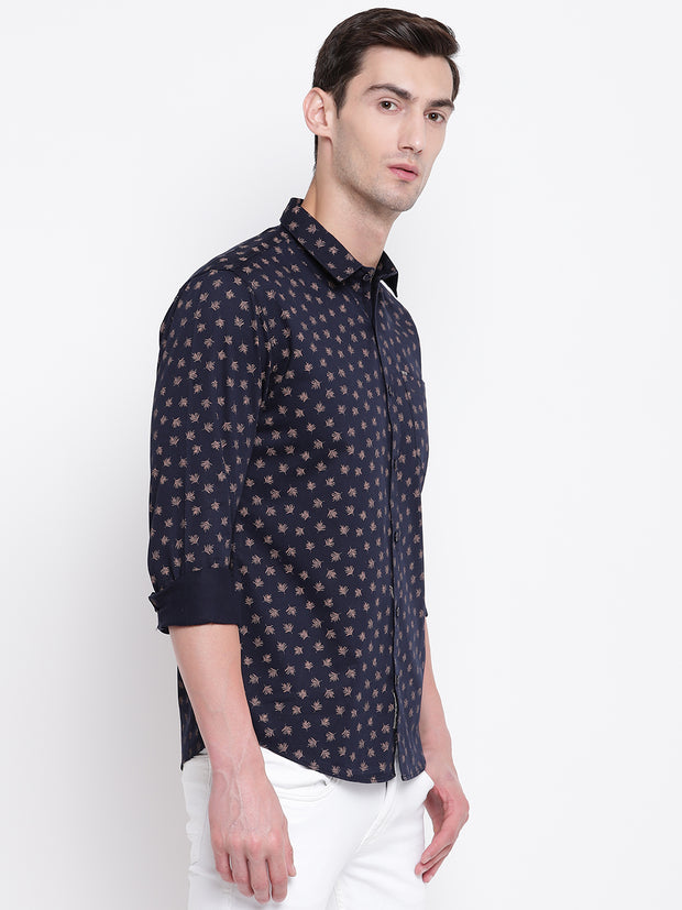 Cotton Full Sleeves Blue Printed  Shirt