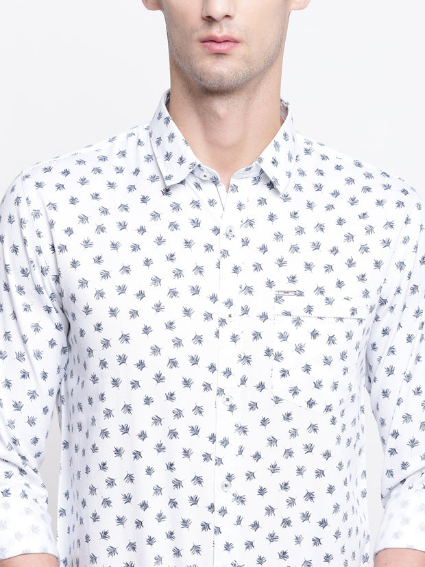 Cotton Full Sleeves White Printed  Shirt