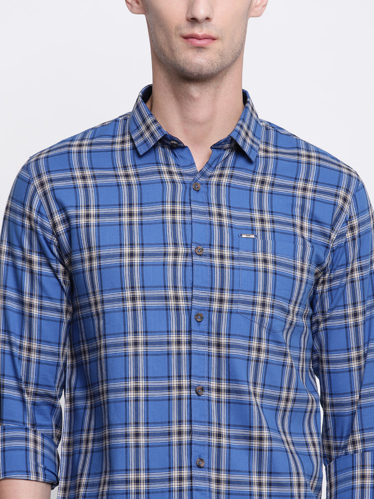 Blue Checkered Regular fit Spread Colllar Cotton Shirt