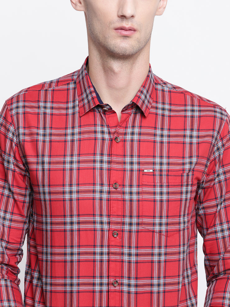 Red Checkered Regular fit Spread Colllar Cotton Shirt