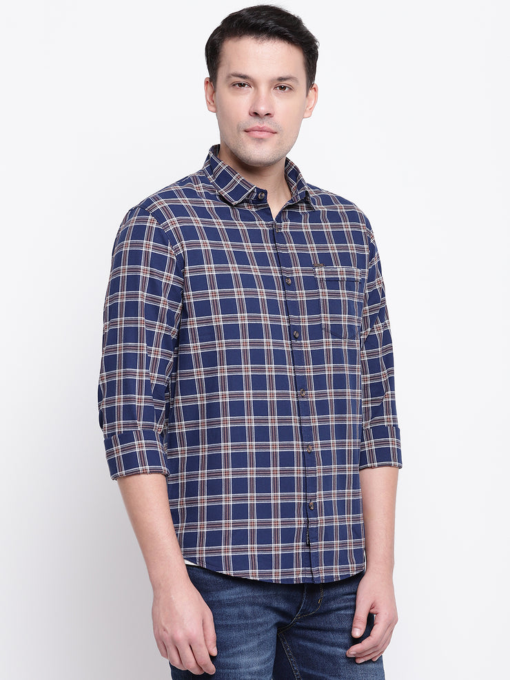 Blue Checkered Regular Fit Cotton Shirt