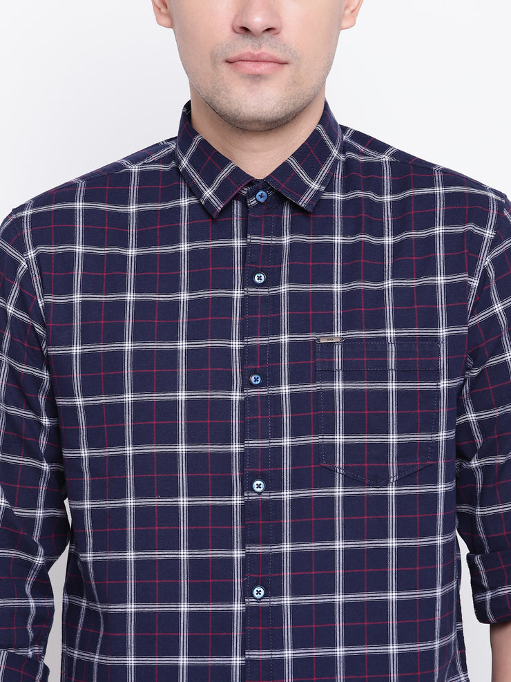 Blue Checkered Cotton Full Sleeves Shirt