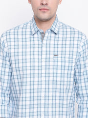 Blue Cotton Checkered Regular Fit Shirt