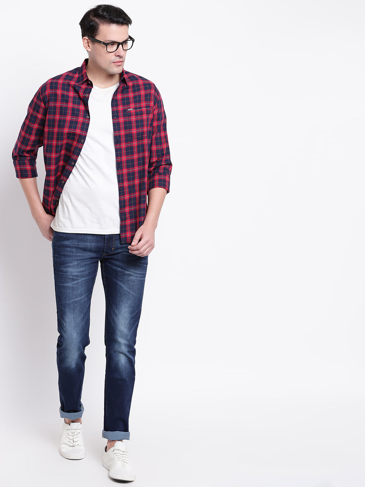 Blue Regular fit Spread Colllar Checkered Cotton Shirt