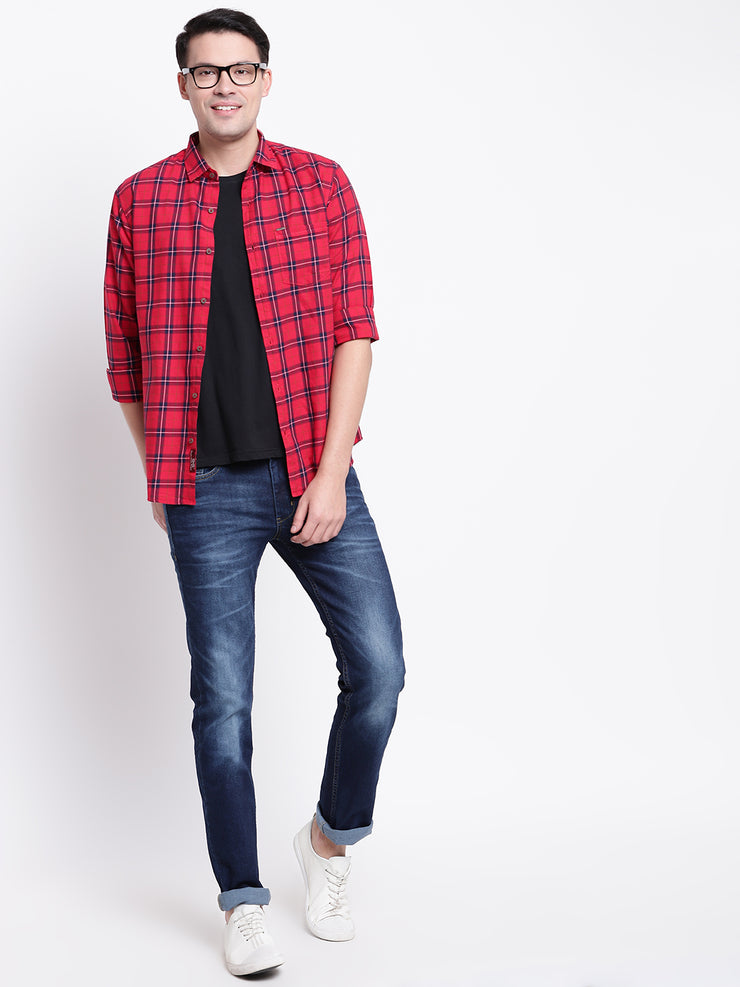 Red Regular fit Spread Colllar Checkered Cotton Shirt