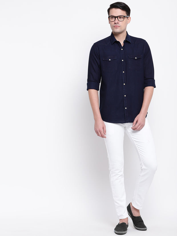 Dark Blue Denim Spread Collar Shirt
