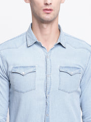 Blue Denim Spread Collar Shirt