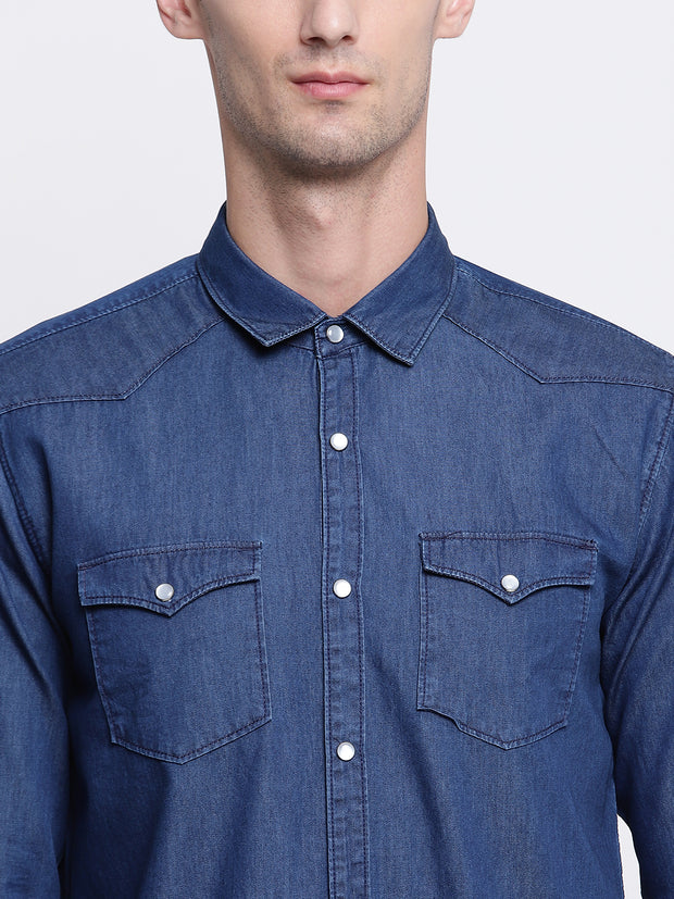Blue Denim Full Sleeves Casual Shirt