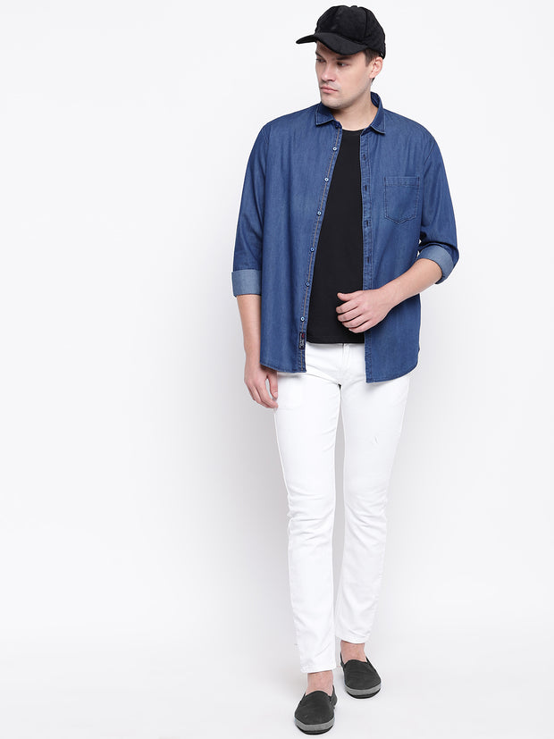 Blue Spread Collar Denim Casual Shirt