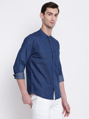 Blue Denim Mandarin Collar Casual Shirt